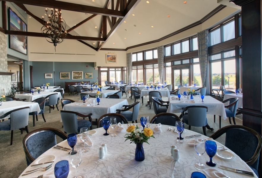 Dining room at Fox Harb'r Resort with an ocean view
