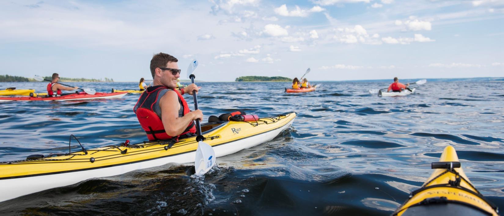 Guided kayaking tour at Fox Harb'r Resort